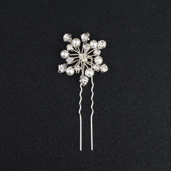 Wholesale chinese hairpins handmade luxury crystal pearl hairpin accessories bridal hair gripper