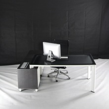 Modern Type Glass Manager Desk On Metal Frame