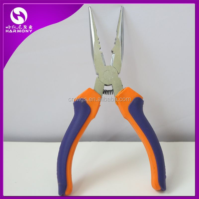 ( 10 pieces per lot ) <strong>Orange</strong> & Blue or <strong>Orange</strong> & Purple Color long nose pliers for hair extensions