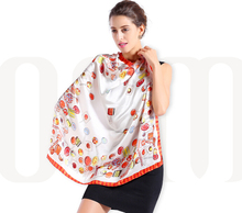 100% Mulbery Silk Screen Print Silk Satin Scarf