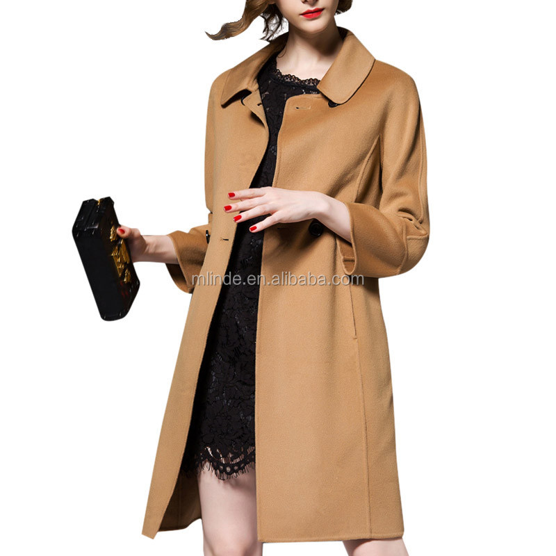 Korean Designs Women Autumn Winter Wool Coat Luxury Elegant Ladies Double Breasted Slim Wool Trench Woman Medium Long Overcoat
