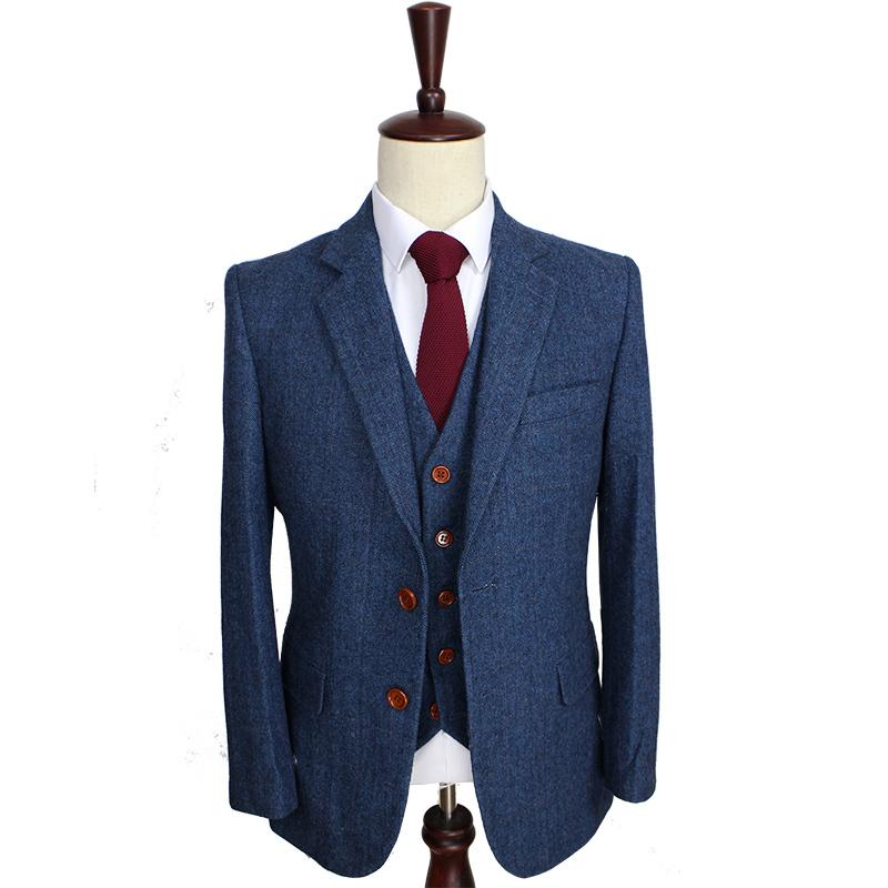 110587dd8 US $150.0 |Wool Blue Herringbone Retro gentleman style custom made Men's  suits tailor suit Blazer suits for men 3 piece (Jacket+Pants+Vest)-in ...