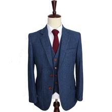 Blue Herringbone Retro gentleman style Men custom made suits tailor made suits Blazer men suits for wedding(Jacket+Pants+Vest)