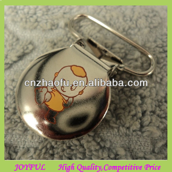 Factory supply printed round metal suspender pacifier clips