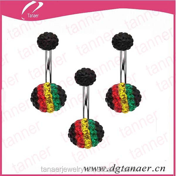 Wholesale 14 gague stainless steel rainbow crystal belly navel ring