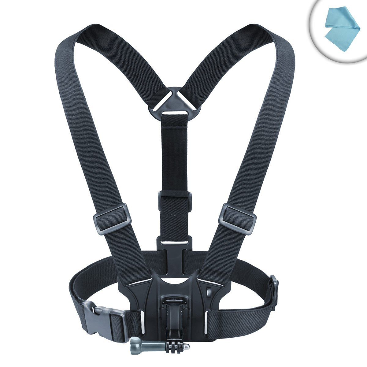 USA Gear Adjustable Chest Mount Harness with Elastic Stretch-Fit Straps - Works With Kodak PixPro SP360 4K , Ion Air Pro Lite , Xiaomi Yi 4K Action Camera and More
