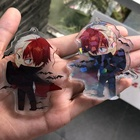 low MOQ Anime printed charms maker custom clear acrylic keychain with glitter epoxy hologram