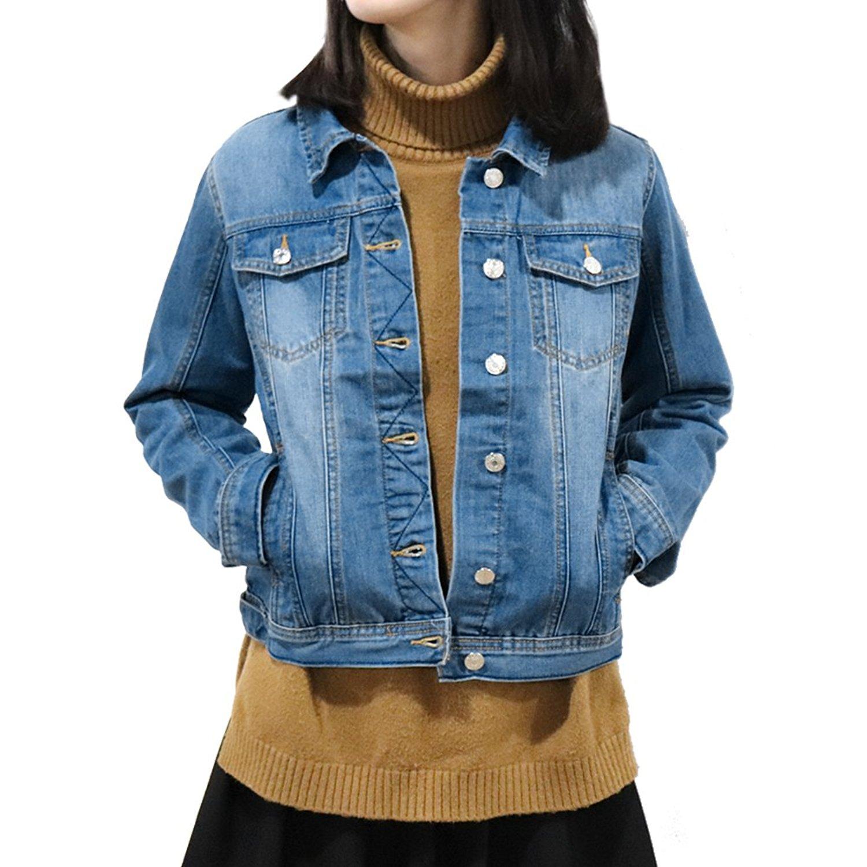 Trendy XU Boyfriend Style Button Denim Coat Loose Fleece Lining Outwear Jacket