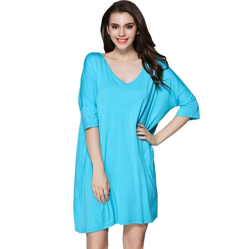ea120e1eb7 Long sleeve modal  strong cotton  strong  nightshirt women plus size  sleepwear