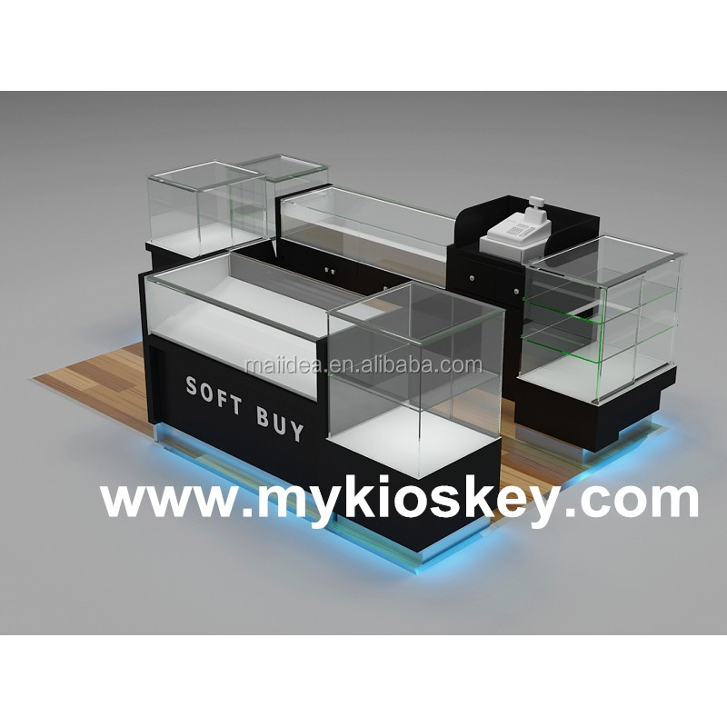 Small 3m by 2.5m glass cigarette display stand e-cigarette booth