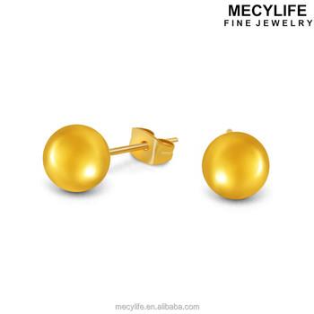 Mecylife Fancy Little Gold Bean Earrings Stainless Steel Stud Baby