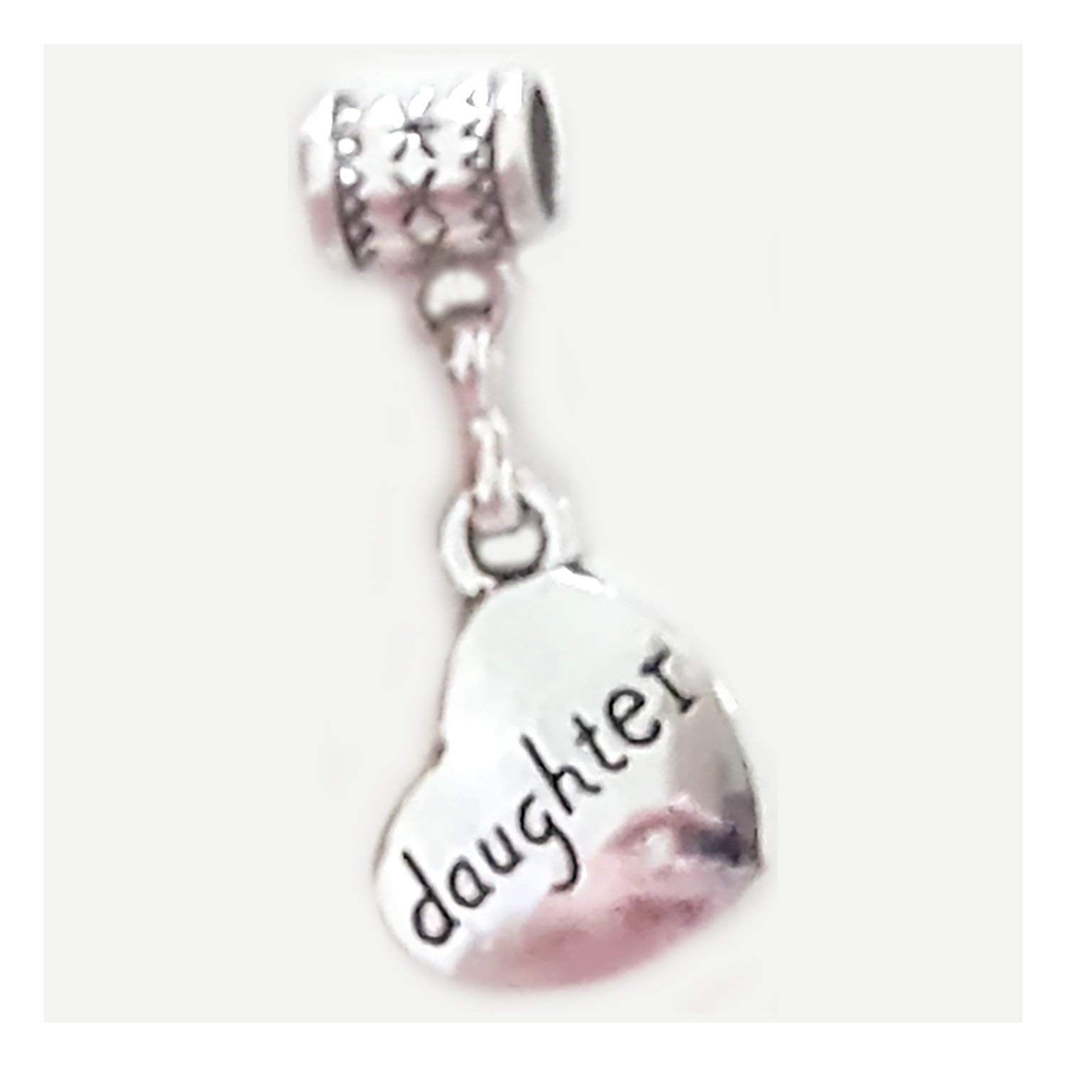 """Daughter charm"" is a Tibetan Silver 2-sided Heart-shaped charm by Mossy Cabin for large-hole snake chain charm bracelets, or add to a neck chain, pendant necklace or key chain"