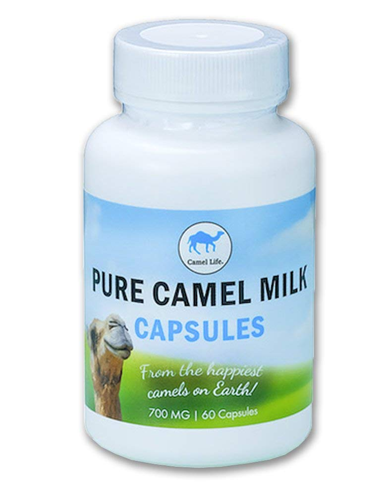 Camel Life / Camel Milk Capsules – Pure Camel Milk / biologically active protective proteins, calcium, iron, lactoferrin, vitamins B1, B2 and C / energy performance boosting / 60 – 700mg caps