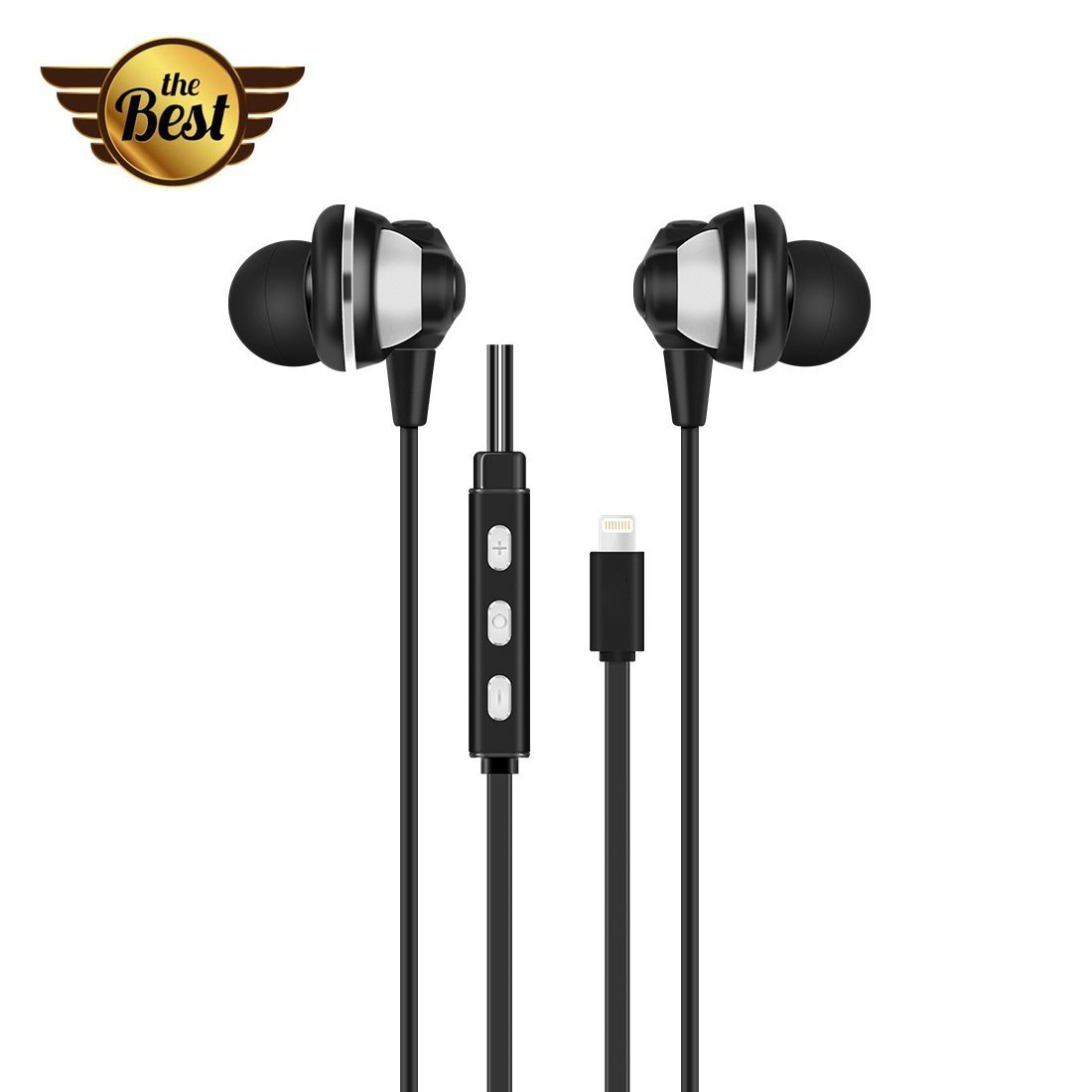 Qiwooode 8Pin Lightning Headset 24-bit Digital Audio In-Ear Headphones with Volume Control and Mic for iPhone 7 / iphone 7 plus / 6s Plus / ipad / ipod (Black)