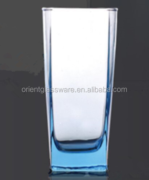 High quality clear square glass cup tall and thin drinking glass cup