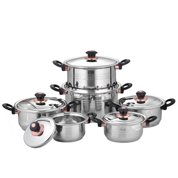 hot sale 12 pcs good quality 201s.s soup pot stainless steel stock pot kitchen cooking pot cookware set