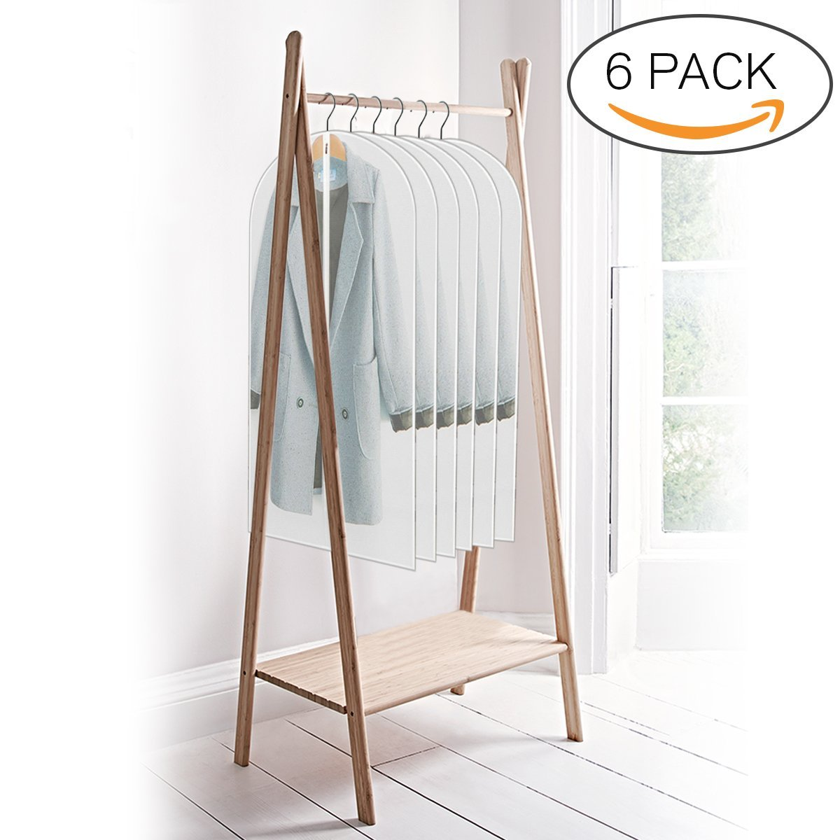 ELEGLIFE Garment Bags (6-Pack): 24''x48'' for Coats, Dresses, Suits, Gowns – Clear Storage Bags, Breathable Protective Cover for Moths, Dust and Moisture, Heavy Duty Zipper, Hanging Travel Bags