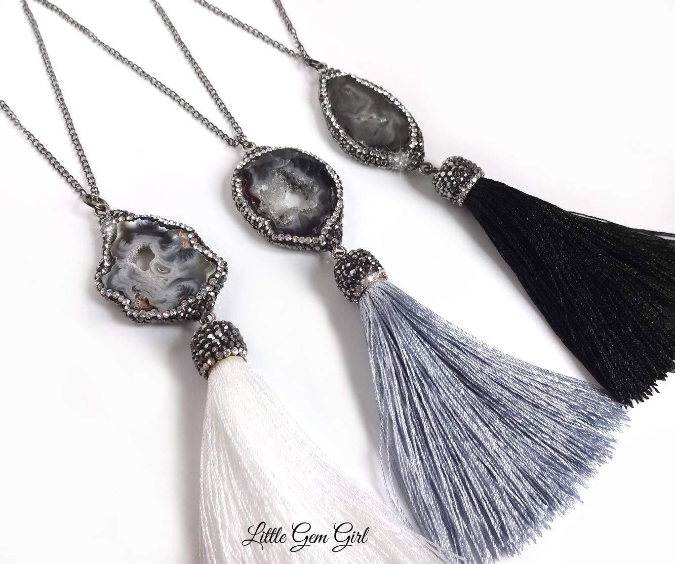 One Long Gunmetal Pave Zircon Black Agate Quartz Silk Tassel Necklace 30 Inch – Silky Tassel Pendant in White, Grey or Black