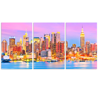 Manhattan Skyline Canvas Wall Art/3 Pieces Purple New Yook at Dusk Picture Giclee Print/ Decorative City View Wall Art