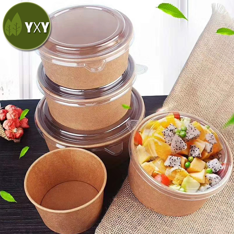 100% Food Grade Disposable Kraft Paper Bowl 1000ml with Lid