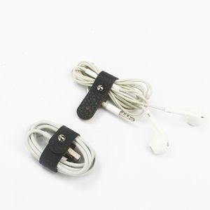 Lichee Pattern Leather Cord Snaps Cable Management - Perfect for Earbuds, Charging Cables