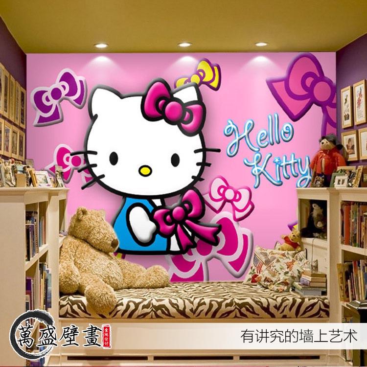 Hello kitty cartoon cat large mural the children's room ...