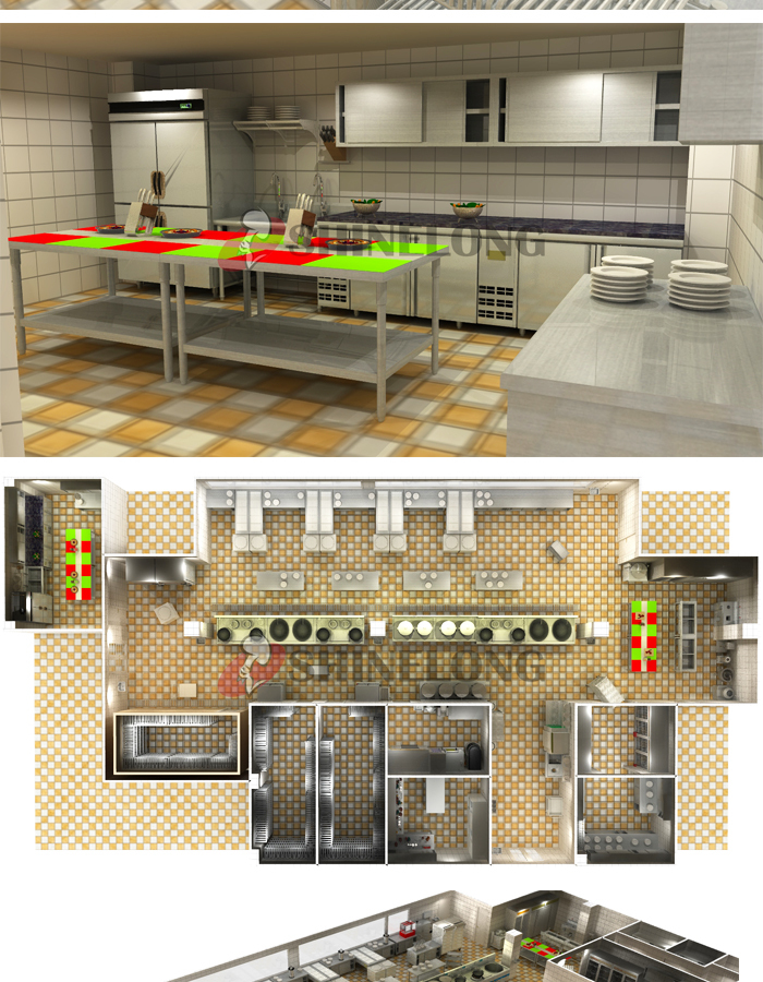 Shinelong Customized Project Canteen Kitchen Design Buy Canteen Kitchen Design 3d Kitchen