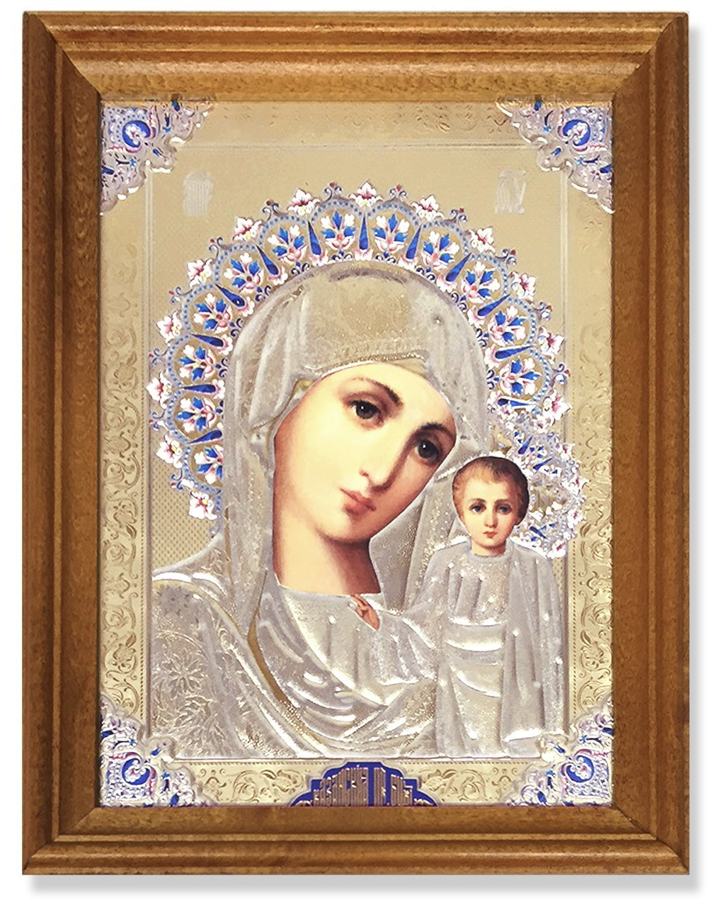 Religious Gifts Red Framed Jeweled Russian Icon Madonna Child Virgin Mary Christ Jesus