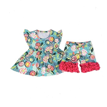 Wholesale Kids Clothing Sets Little Girls Aqua Floral Print Tunic and Ruffled Shorts Outfits