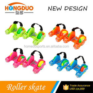 New Arrival Adjustable Flashing Roller Heel Skates with Colored PU Wheels