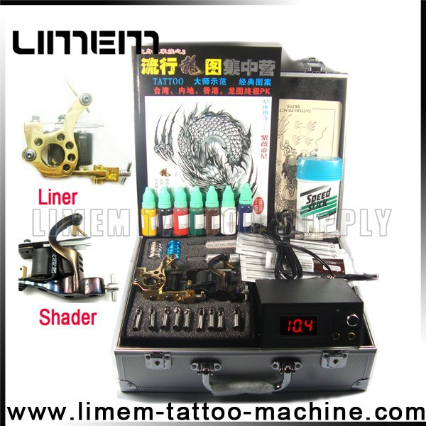 2015 newest hot sell tattoo kit,tattoo machine sets with two guns