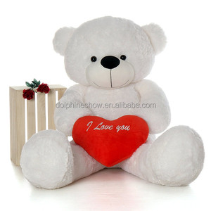 Huge Giant White Teddy Bear 200cm Plush Toy With Red Heart LOW MOQ Pretty Big Stuffed Soft Plush Valentine Bear