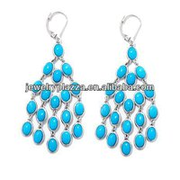 Gems Sleeping Beauty Turquoise Sterling Silver Chandelier Earrings