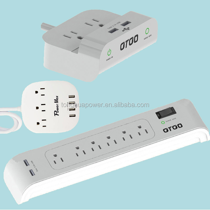UL receptacle ETL Surge protector 6 outlets 2 USB 3 Outlet Power Strip with Timer With Surge Protection