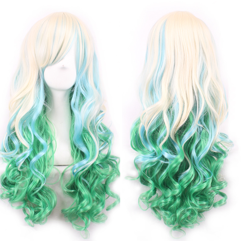 Hot New 68cm Cute Lolita Lone Curly Hair Blonde Mixed Green Lovely Women Lady Anime Cosplay Wig Party Multi-colored Ombre Wigs