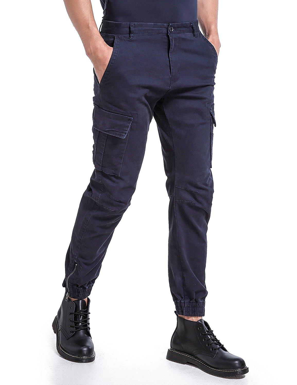 cb82a4793b Get Quotations · Eaglide Mens Slim Fit Chino Jogger Pants, Mens Athletic  Boys Casual Cargo Khaki Pants