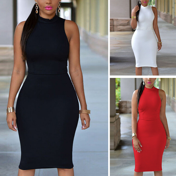 Women Summer Solid Color Tasting Cocktail Sexy Back Office Bandage Bodycon Dress