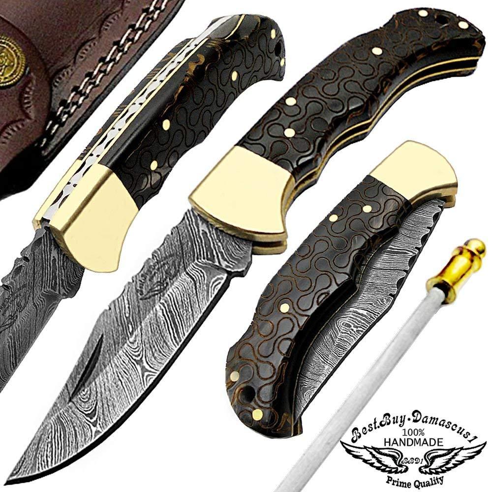 "Buffalo Horn 6.5"" Beautiful Engraved Handmade Custom Damascus Steel Brass Bloster Back Lock Folding Pocket Knife 100% Prime Quality Sharpening Rod"
