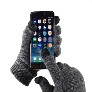Breathable Knitted Warm Wool Winter Lining Texting Promotion Safety Work Touchscreen Hand Gloves
