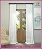 Embroidered Faux Linen Sheer Curtain, Ginko White