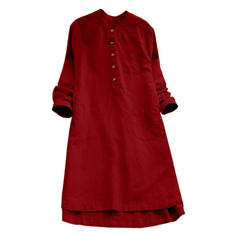 dfb4358b1 Women Vintage Long Sleeve Plain Maxi Dresses Pockets Casual Loose Button  Tops Blouse Mini Shirt Dress Plus Size M-3XL