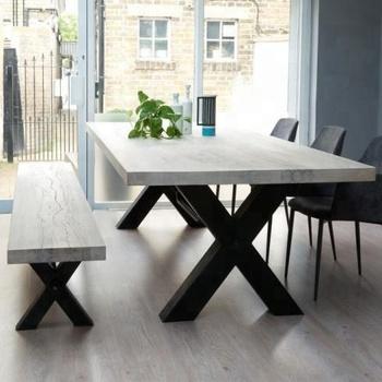 Moden Design Natural Rectangular Solid Wood Top Metal Leg Dining