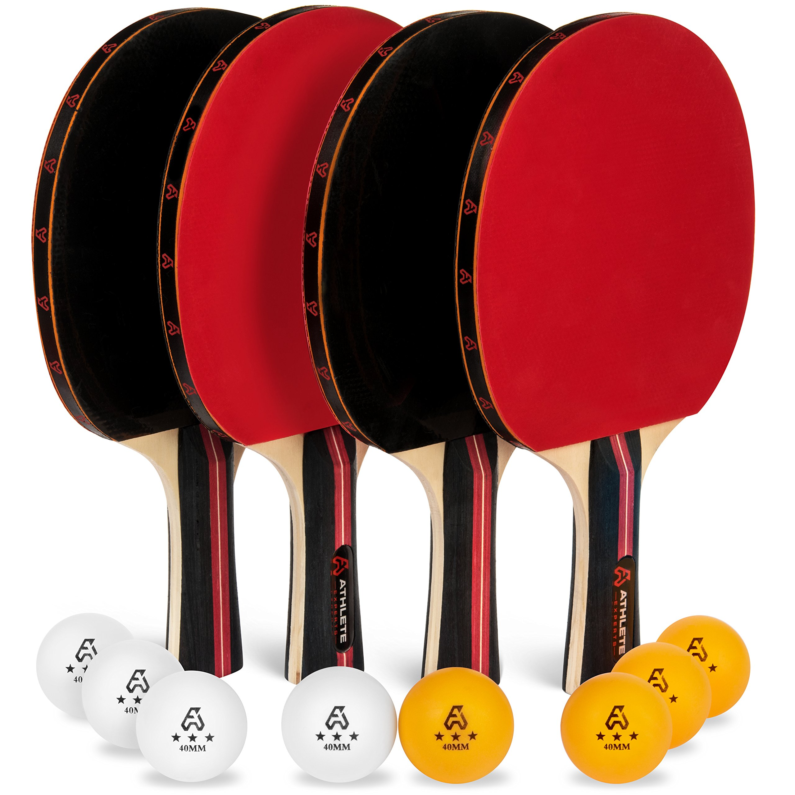 Athlete Experts Table Tennis Set - 4 All Wood Flared Handle Ping Pong Paddles and 8 Quality 40mm 3-Star Balls - This Ping Pong Paddle Set is the Perfect Indoor Game Gift for Kids or Professionals