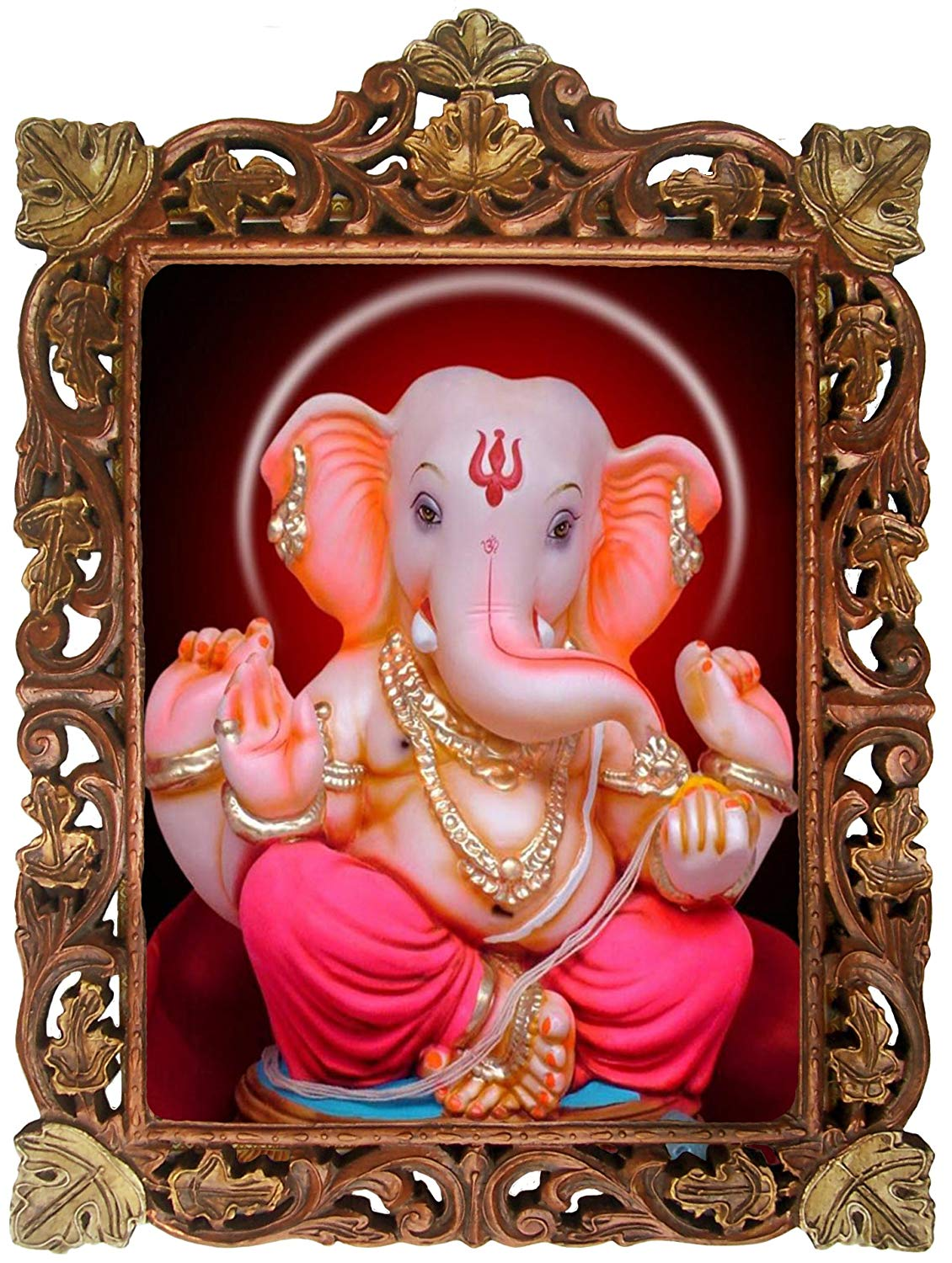 Ganesha Statue Made on Marble Poster Frame in Handcrafted Wood Craft Frame, Indian Handicrafts