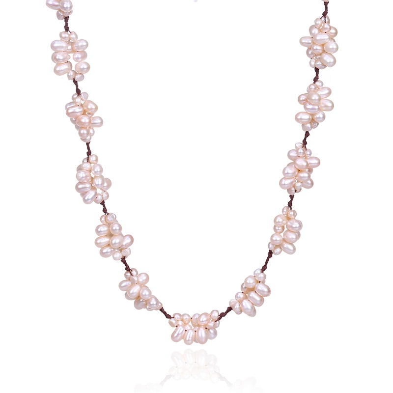 Elegant Luxury Silver 925 Clasp Sweather Natural Pink Pearl Necklace