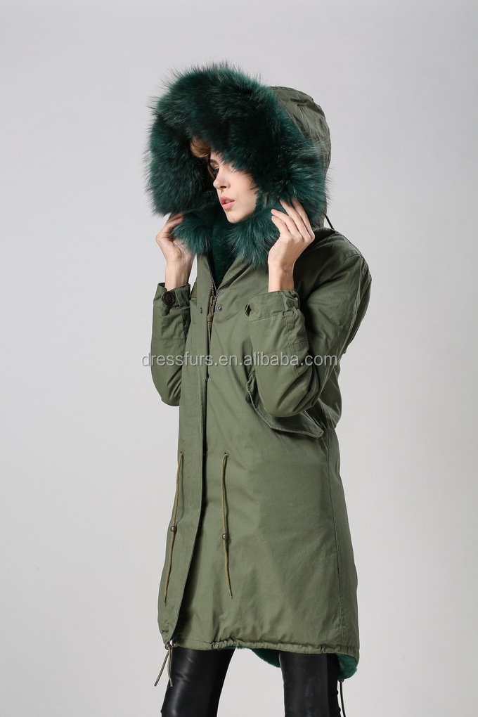 faux fur dark green parka with thick raccoon fur hood hotsale ...