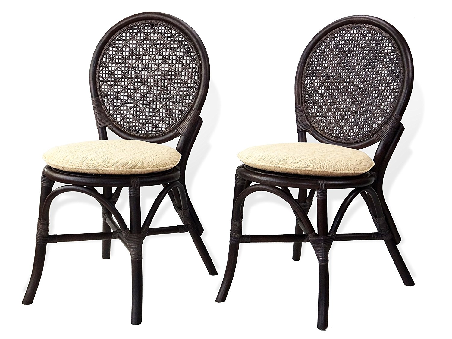 Get Quotations · Set Of 2 Denver Dining Armless Accent Side Chairs Design  ECO Handmade Rattan Wicker Dark Brown
