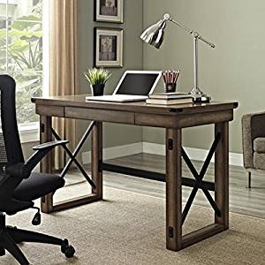 """Wooden Vintage Style Desk in Rustic Gray Finish, Metal and Wood, Computer Desks, Writing Desks, with 1 Drawer under the Desktop, X-style Table, Workshop, Bundle with Expert Guide """"Quality in Our"""