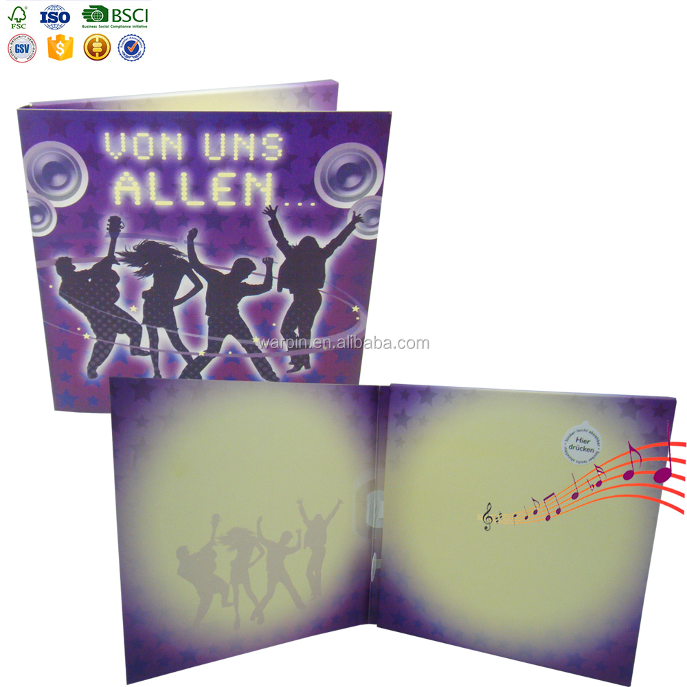 Wholesale Fancy Light up Fiber Optic Music Greeting Cards for Birthday