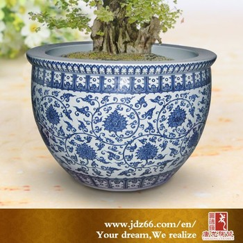Chinese Antique Ceramic Flower Pots With Blue And White